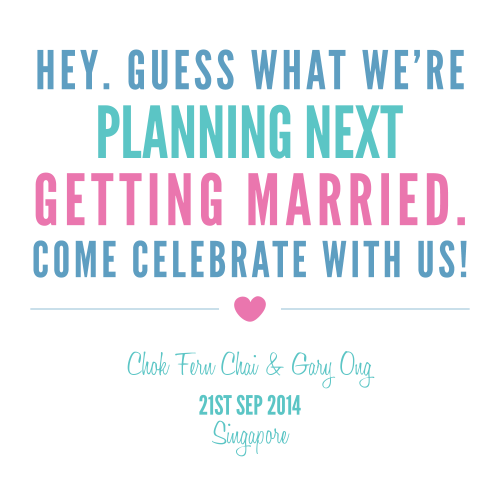 21st Sep 2014 - Save the date for us~