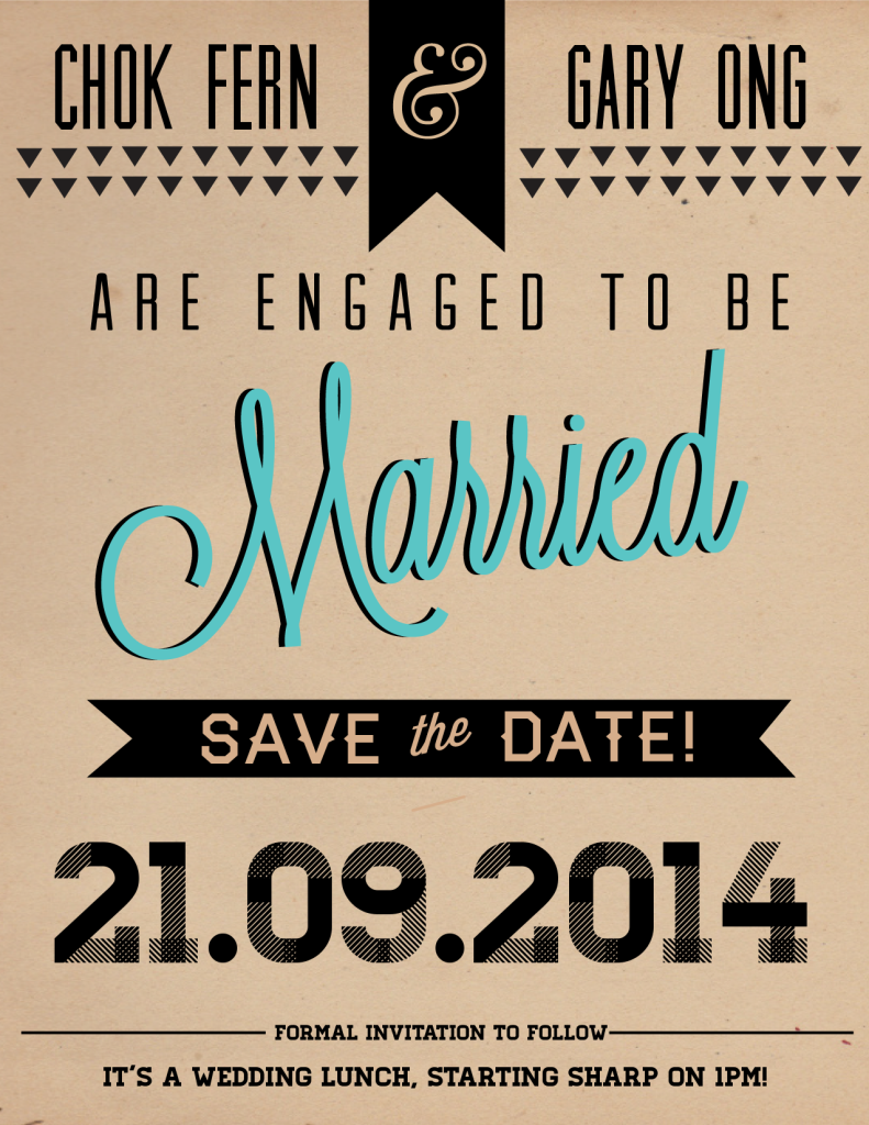 Save the date - Chok Fern & Gary are getting married on 21.09.2014, and it's a wedding lunch!